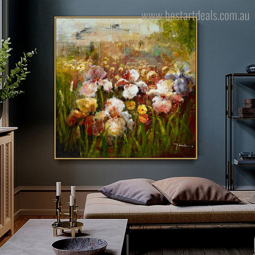 Colorful Floral Botanical Impressionist Framed Oil Painting Picture Canvas Print for Room Wall Outfit
