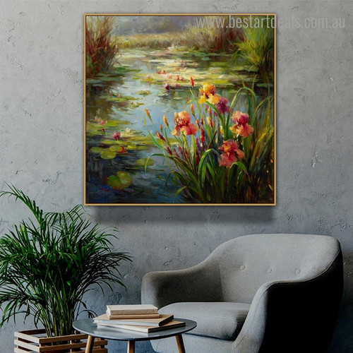 Lake Lotus Floral Botanical Impressionist Framed Oil Painting Picture Canvas Print for Room Wall Outfit