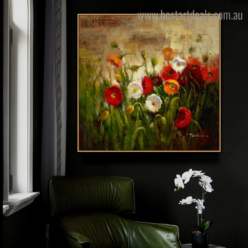 Motley Garden Abstract Botanical Impressionist Framed Painting Image Canvas Print for Room Wall Garnish