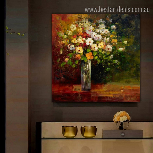 Dapple Flowerpot Abstract Botanical Impressionist Framed Painting Image Canvas Print for Room Wall Onlay
