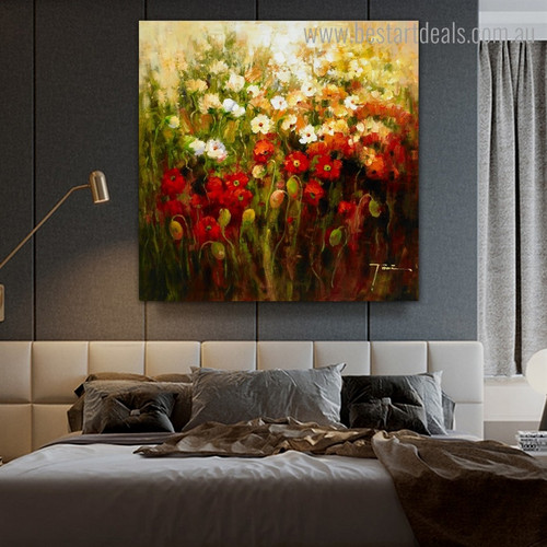 Calico Garden Abstract Botanical Impressionist Framed Painting Photo Canvas Print for Room Wall Finery