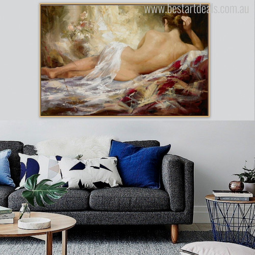 Au Naturel Girl Glorious Watercolor Art Print for Living Room Ideas