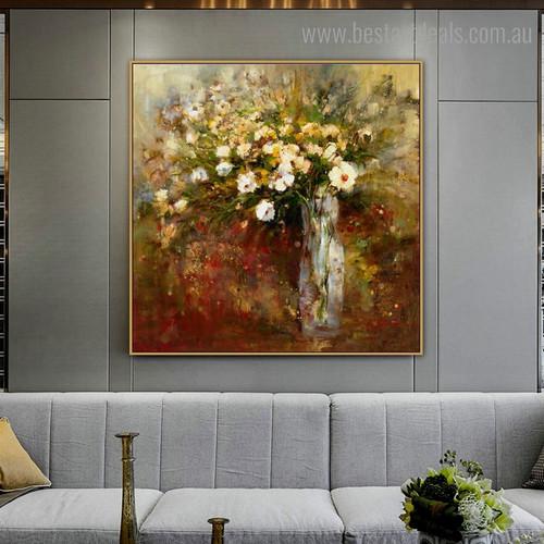 Varicoloured Flowerpot Abstract Botanical Impressionist Framed Artwork Image Canvas Print for Room Wall Equipment