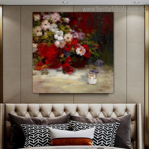 Multicolored Plants Abstract Botanical Impressionist Framed Artwork Portrait Canvas Print for Room Wall Flourish