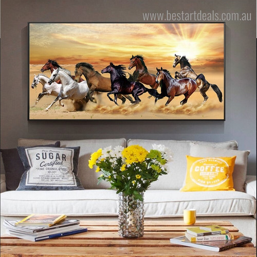 Running Equines Animal Landscape Framed Painting Picture Canvas Print for Room Wall Ornament