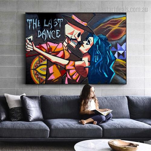 Last Dance Graffiti Figure Framed Painting Image Canvas Print for Room Wall Flourish