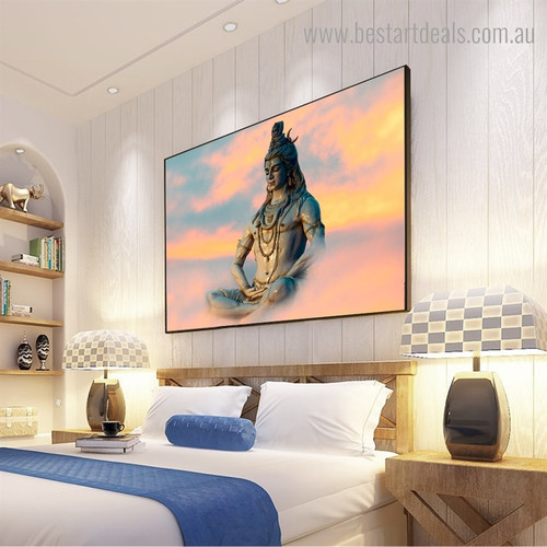 Mahadev God Religious Contemporary Framed Portraiture Image Canvas Print for Room Wall Finery