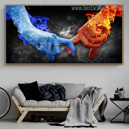 Ice Fire Love Abstract Modern Framed Portraiture Picture Canvas Print for Room Wall Tracery
