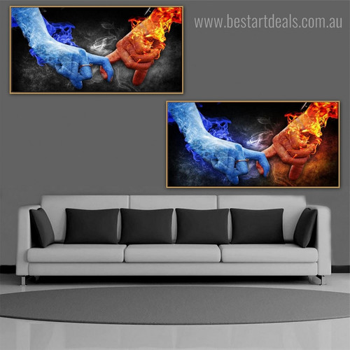 Catching Hands Abstract Modern Framed Portraiture Picture Canvas Print for Room Wall Getup