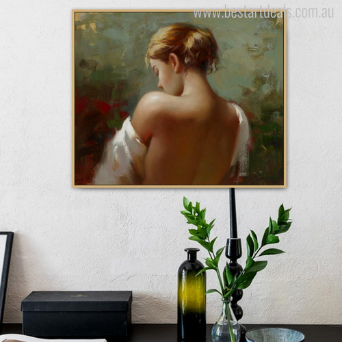 Nude Stern Girl Watercolor Mural Print for Wall Decor