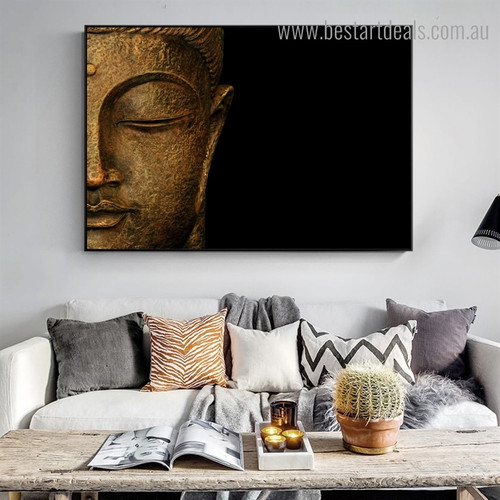 Half Buddha Religious Contameporary Framed Portraiture Pic Canvas Print for Wall Decoration