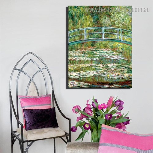 The Japanese Footbridge Monet Landscape Framed Painting Pic Canvas Print for Room Wall Assortment