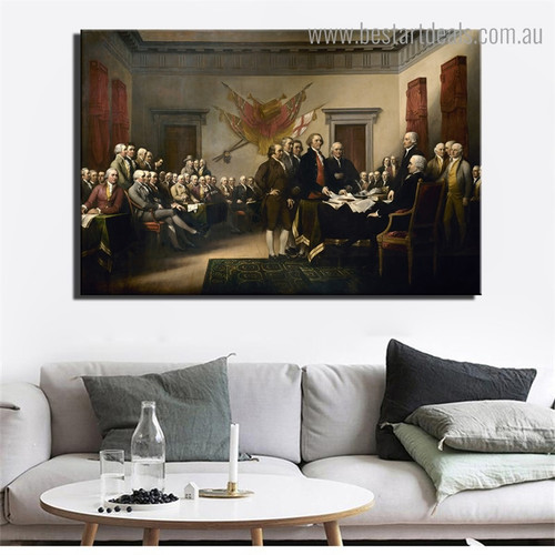 Declaration of Independence Trumbull Figure Reproduction Framed Artwork Portrait Canvas Print for Room Wall Ornament