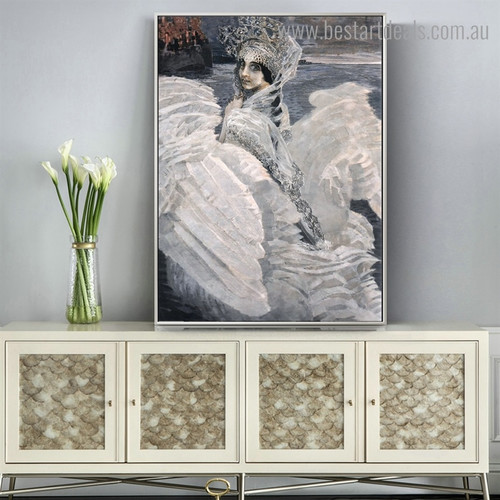 The Swan Princess Figure Reproduction Framed Artwork Portrait Canvas Print for Room Wall Garniture