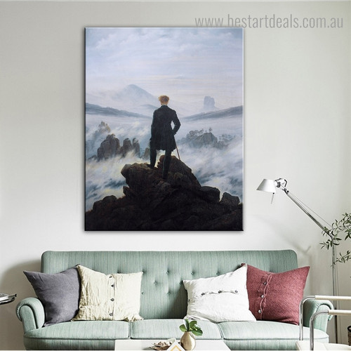 Wanderer Sea Fog Landscape Reproduction Framed Artwork Pic Canvas Print for Room Wall Ornament