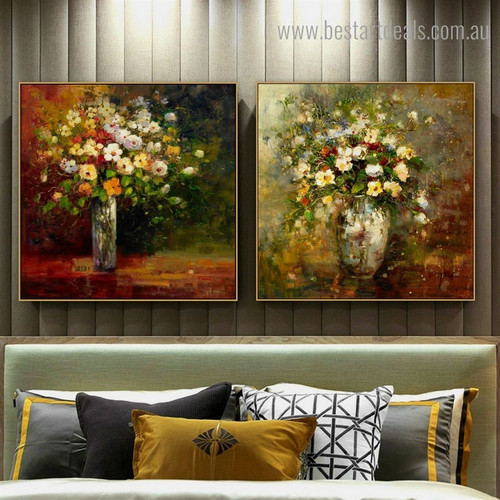Colorful Blossoms Vase Botanical Framed Painting Photo Canvas Print for Room Wall Ornament
