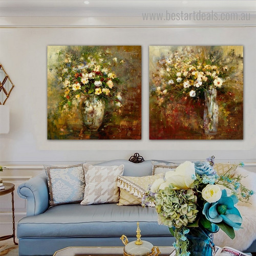 Coloured Flowerets Vase Botanical Framed Painting Image Canvas Print for Room Wall Garnish