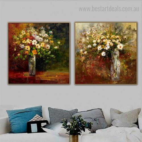 Motley Flowerpots Impressionist Botanical Framed Artwork Portrait Canvas Print for Room Wall Decoration