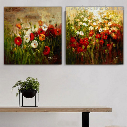 Chromatic Blossoms Garden Impressionist Botanical Framed Artwork Picture Canvas Print for Room Wall Ornament