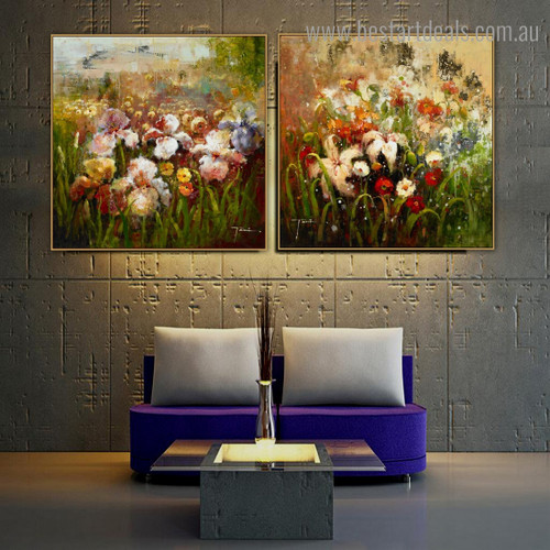 Varicolored Garden Impressionist Botanical Framed Artwork Picture Canvas Print for Room Wall Ornament