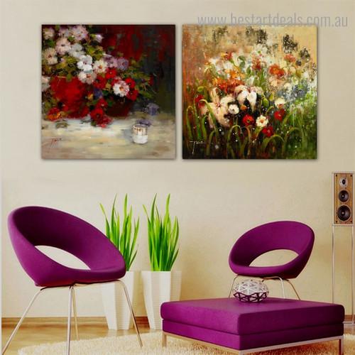Particoloured Plants Impressionist Botanical Framed Artwork Photo Canvas Print for Room Wall Garnish