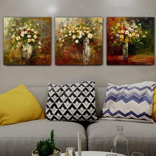 Colorific Blossoms Vase Impressionist Botanical Framed Artwork Portrait Canvas Print for Room Wall Flourish