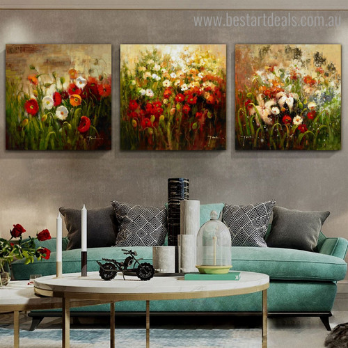 Dapple Floral Worts Impressionist Botanical Framed Artwork Image Canvas Print for Room Wall Onlay