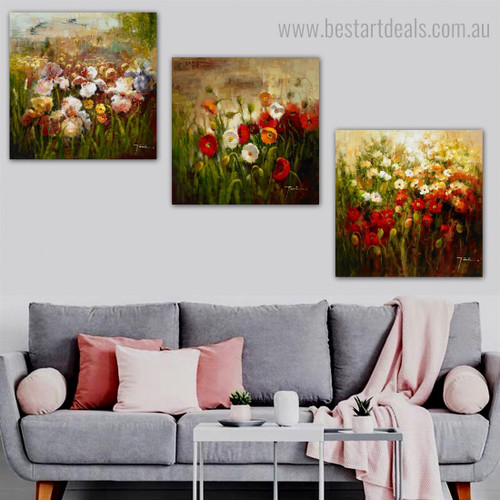 Multicolored Garden Impressionist Botanical Framed Artwork Picture Canvas Print for Room Wall Garniture