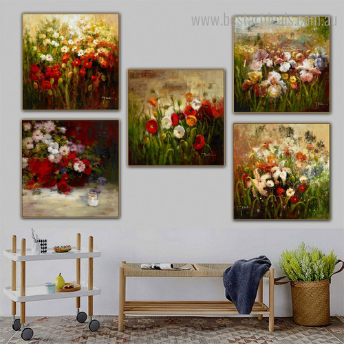 Colorful Gardens Impressionist Nature Botanical Framed Artwork Image Canvas Print for Room Wall Onlay