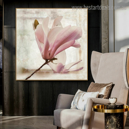Chinese Magnolia Floral Modern Framed Painting Portrait Canvas Print for Room Wall Outfit