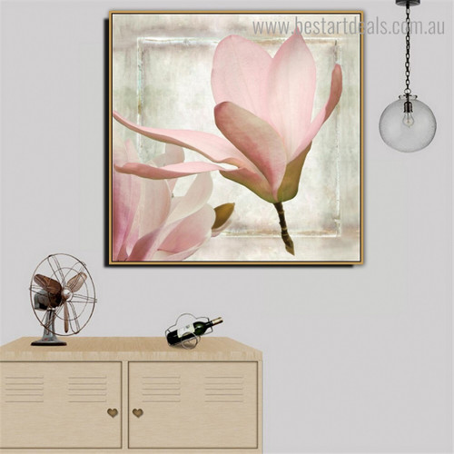 Pink Chinese Magnolia Floral Modern Framed Painting Pic Canvas Print for Room Wall Decor