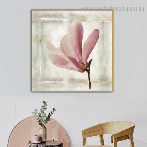 Pink Magnolia Floral Modern Framed Artwork Pic Canvas Print for Room Wall Onlay