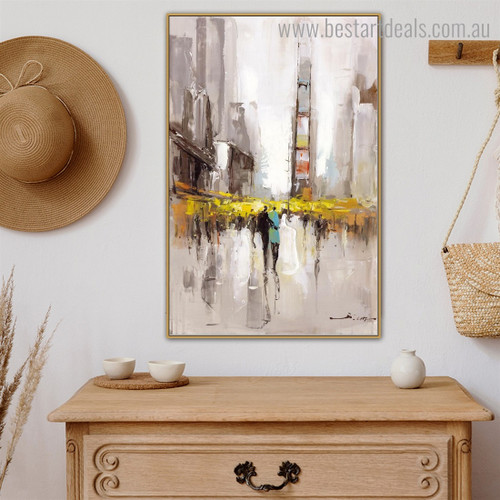 Town Abstract Cityscape Framed Painting Photo Canvas Print for Room Wall Onlay