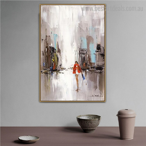 City Peoples Abstract Cityscape Framed Painting Photo Canvas Print for Room Wall Ornament
