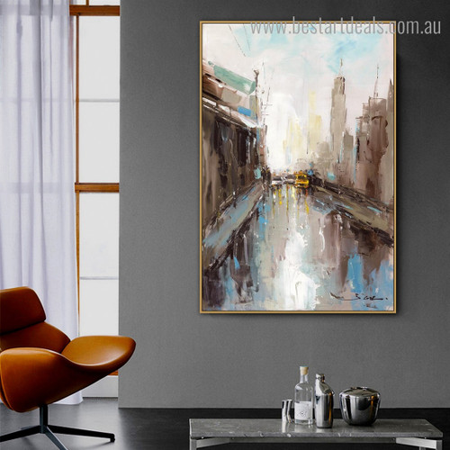 Burg View Abstract Cityscape Framed Painting Pic Canvas Print for Room Wall Outfit
