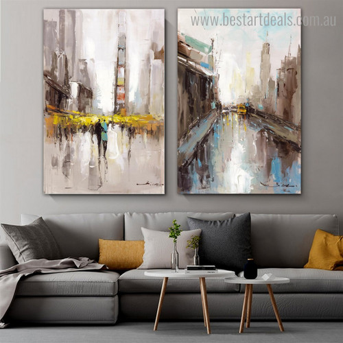 Cities View Abstract Cityscape Framed Painting Pic Canvas Print for Room Wall Getup