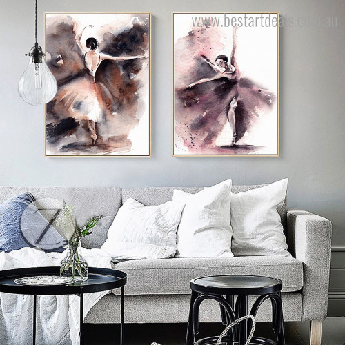 Ballerina Dancers Abstract Modern Watercolor Framed Artwork Image Canvas Print for Room Wall Decoration