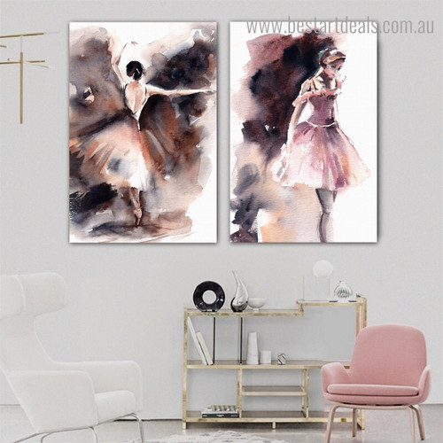 Pink Dancers Abstract Modern Watercolor Framed Artwork Portrait Canvas Print for Room Wall Assortment