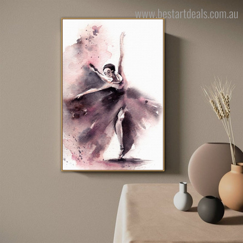 Dancer Abstract Modern Watercolor Framed Painting Pic Canvas Print for Room Wall Tracery