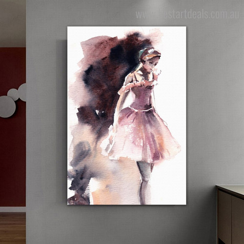 Cute Dancer Abstract Modern Watercolor Framed Artwork Photo Canvas Print for Room Wall Decor