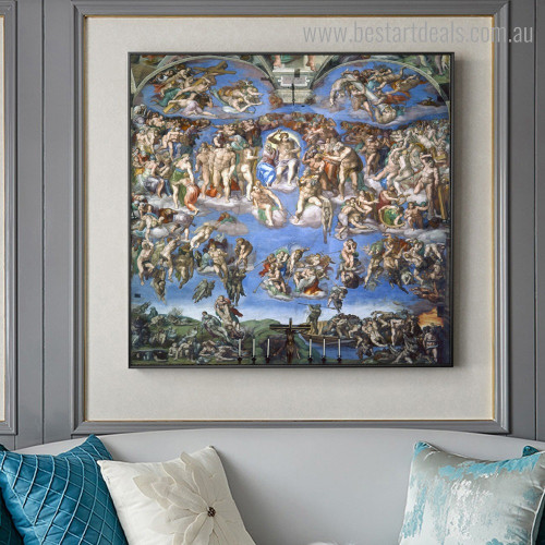 The Last Judgement Michelangelo Framed Reproduction Painting Picture Canvas Print for Room Wall Outfit