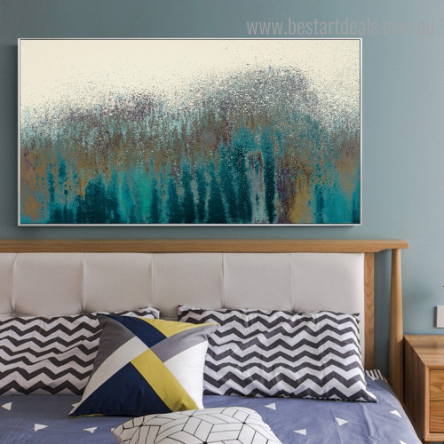Cyan Spray Abstract Modern Framed Artwork Photo Canvas Print for Room Wall Flourish