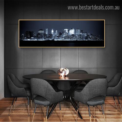 Manhattan Skyline Panoramic Cityscape Framed Artwork Image Canvas Print for Room Wall Flourish
