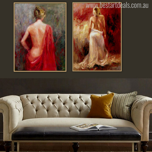 Bare Loin Girls Superb Watercolor Artwork Print for Wall Decor