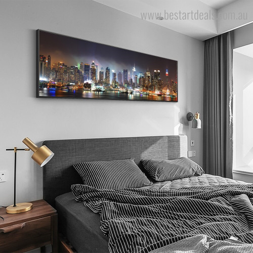 Skyscrapers City Panoramic Cityscape Framed Artwork Image Canvas Print for Room Wall Garniture
