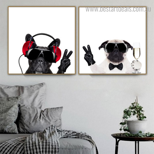 Bull Pug Dogs Animal Funny Modern Framed Painting Photo Canvas Print for Room Wall Garniture