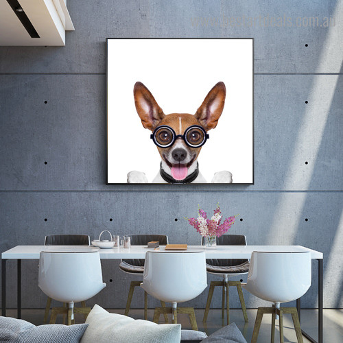 Crazy Basenji Animal Funny Modern Framed Painting Image Canvas Print for Room Wall Finery