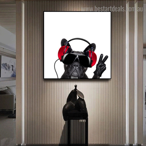 Black Bull Dog Animal Funny Modern Framed Painting Portrait Canvas Print for Room Wall Garnish