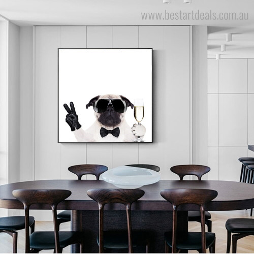 Pug Dog Animal Funny Modern Framed Painting Photo Canvas Print for Room Wall Outfit