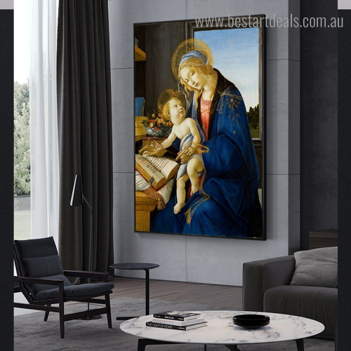 Madonna Book Sandro Botticelli Reproduction Framed Artwork Picture Canvas Print for Room Wall Getup